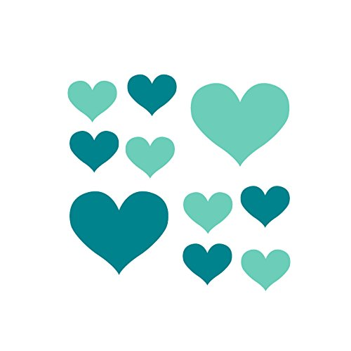 Set of 60 - Mint Green / Turquoise Heart Vinyl Wall Decal...