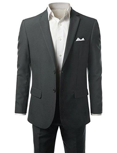 MONDAYSUIT Men 2-Piece Slim-Fit Solid 2-Button Blazer Jacket Trouser CHARCL 36R