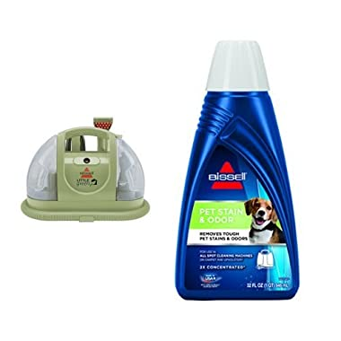 BISSELL 1400B Multi-Purpose Portable Carpet Cleaner + BISSELL 2X Pet Stain & Odor Portable Machine Formula, 32 ounces