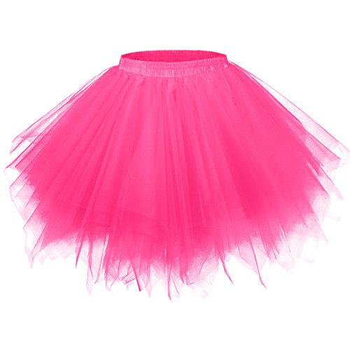 Girstunm Women's 1950s Vintage Petticoats Bubble Tutu Dance Half Slip Skirt Fuchsia -