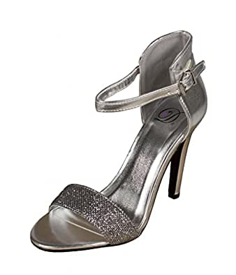 Lustacious Women's Stick Slim High Heel with Adjustable Ankle Strap, silver silver metallic leatherette, 5.5 M US