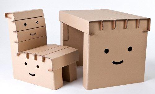 【子供用ダンボール家具】学習机「マイリーセット」(チェアx1、デスクx1)