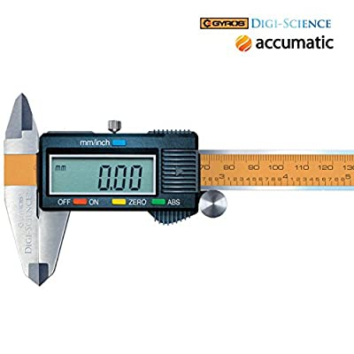 "Gyros DIGI-SCIENCE Accumatic Pro Digital Electronic Caliper | Absolute Measurement, Measures up to 0-6"" or 0-150mm 