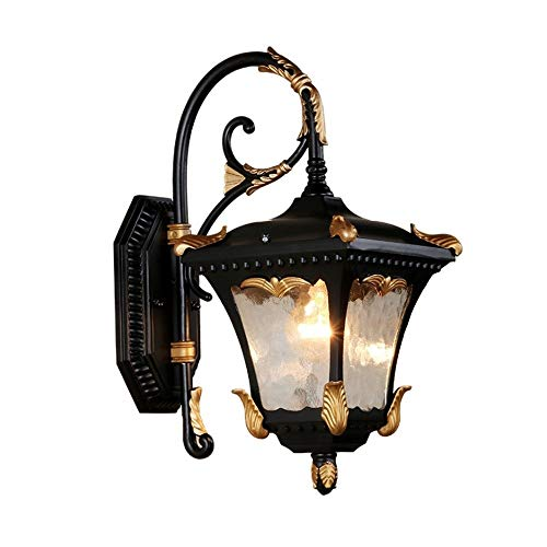 DLGGO Mediterranean Style External Wall Lamp Black Finish Gold Painting Process E27 Wall Sconce Outdoor Waterproof Decor Fixture Porch Hammering Glass Lantern Patio Hard Surface Mounting Wall - Style House Rose Dawn