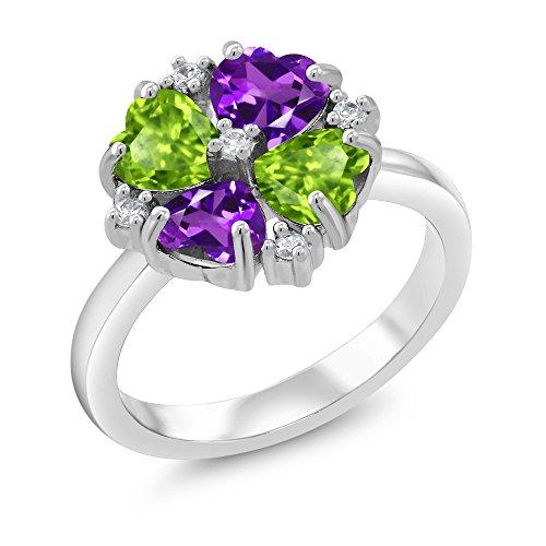 Gem Stone King 1.88 Ct Heart Shape Purple Amethyst Green Peridot 925 Sterling Silver Ring (Size 5) ()