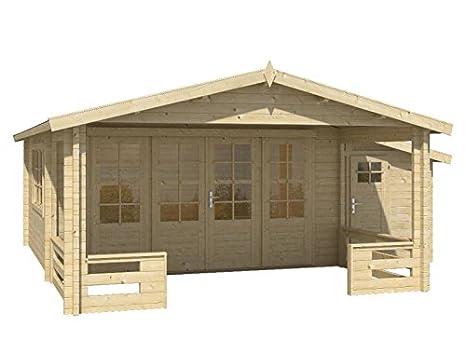 Blockhaus SOFIA 440 + 150 x 340cm + Veranda Gartenhaus 58mm ...
