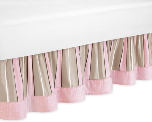 Sweet Jojo Designs Bed Skirt for Pink and Brown Modern Polka Dots Toddler Bedding by Sweet Jojo Designs