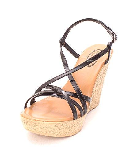 Sandalias De Plataforma Calisto Mujer's Sambaa Open Toe Casual, Negro, Talla 9.0