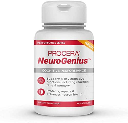 Procera NeuroGenius Clinically Studied Nootropic Brain Supplement Breakthrough Neuron Repair Formula Supports Brain Lipid Health Improves Reaction Time Memory ALA, Selenium, Ginseng
