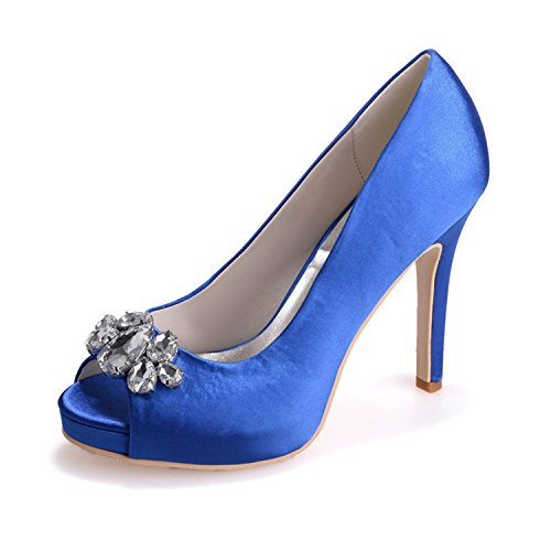 Crystal Rhinestone Women's EH065 Toe Blue High Ellenhouse Pumps Heel Peep Open Shoes SHxwE