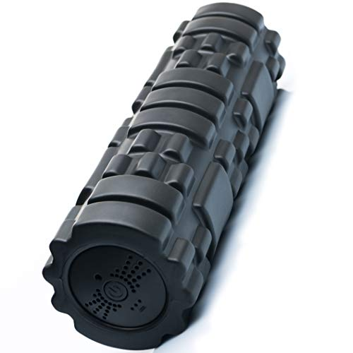 SUVIUS Electric Vibrating Foam Roller - 4 Intensity Levels for Firm Battery-Powered Deep Tissue Recovery, Training, Massage - Therapeutic Back and Muscle Massage Roller (Black, Medium) ()