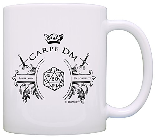 Gamer Mugs Game Master Carpe DM Funny D20 Critical Hit Chaotic Neutral Gift Coffee Mug Tea Cup (Bill Nye Science Guy Costume)