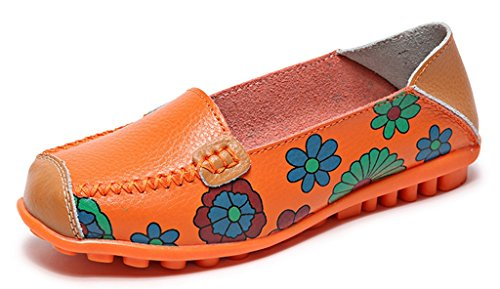 Labato Women's Casual Leather Loafers Slip-On Slippers Driving Flat Shoes Orange-01