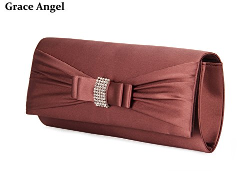 Women's Evening Party Handbag Bow Cocktail Brown Angel GALU4126E Rhinestones Grace IF5w4CxI