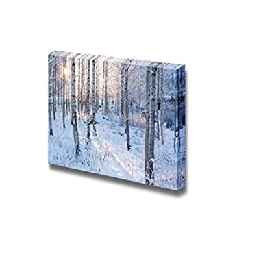 Snow Covered Forest with Sunshine Peeking Through Wall Decor, With Expert Quality, Grand Print