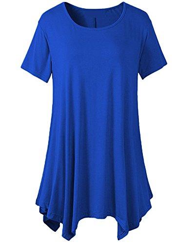 Tops Shirt Tunic Couleur Fit Taille Affaires de Femme T Swing Shirt Blouse Chemise Pure Blouse Comfy Soie Lache T 2 Longue Manches Grande Bleu Loose Femme Flattering Mousseline nxqUSRnw0T