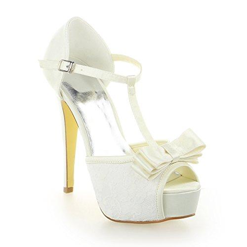 JIA JIA Women's Bridal Shoes 20128 Peep Toe T-Strap Stiletto Heel Satin Platform Pumps Bowknot Wedding Shoes Ivory dHe7gJxs4g