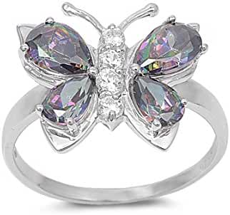 Mystic Simulated Topaz Cubic Zirconia Butterfly Hera Ring Sterling Silver (Color Options, Sizes 4-15)