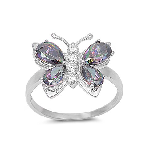 Blue Topaz Butterfly Ring - CloseoutWarehouse Mystic Simulated Topaz Cubic Zirconia Butterfly Hera Ring Sterling Silver Size 8