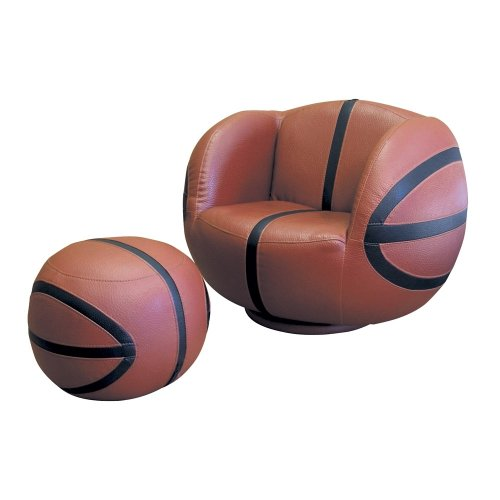 ORE International Basketball Swivel Chair and Ottoman
