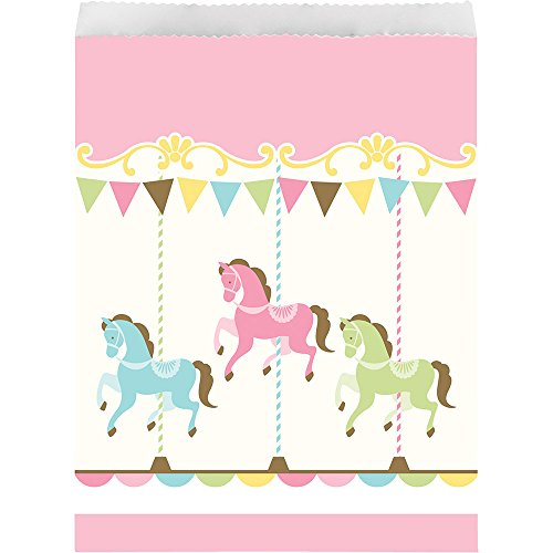 (Creative Converting 329414 120-Count Paper Treat Bags Horses, Carousel)