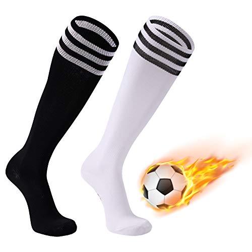 FOOTPLUS School Uniform Socks, Boys Arch Support Over Knee High All Sports Baseball Volleyball Football Lacrosse Softball Soccer Socks, 2 Pairs Black+White Stripe&White+Black Stripe, Medium