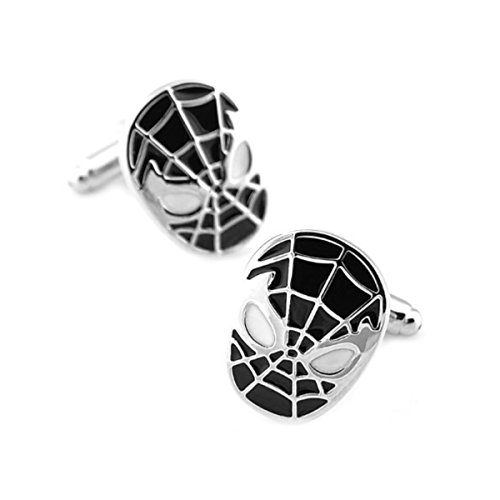 DC Comics Black and Silver Spiderman Cufflinks with Giftbox