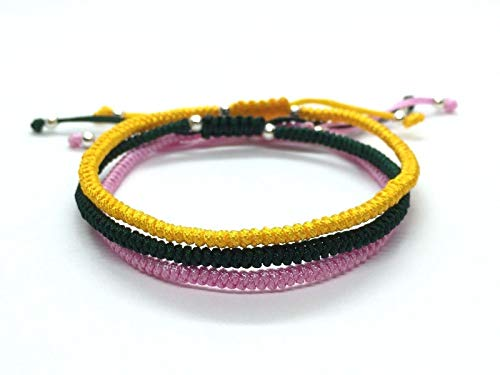 Handmade Adjustable Shamballa Knotted Rope - Pink, Yellow & Green