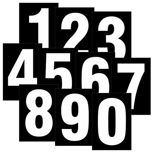 Set mit Zahlen 0 bis 9 weiß auf schwarz wetterfest als Aufkleber Regalbeschriftung Klebebuchstaben 80 x 55mm