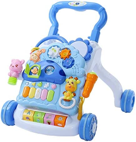 3 in 1 Baby Sit-to-Stand Walker, Kids Activity Center, Entertainment Table w/Lights & Sounds, Music, Detachable Panel, Educational Push Toy for Babies, Toddlers, Infants, Boys, Girls (Blue)