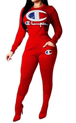 Verchirs Womens Club Long Sleeve Sequin 2 Piece Outfits Letter Print Casual Crop Top Leggings Jumpsuit Sporsuits ()