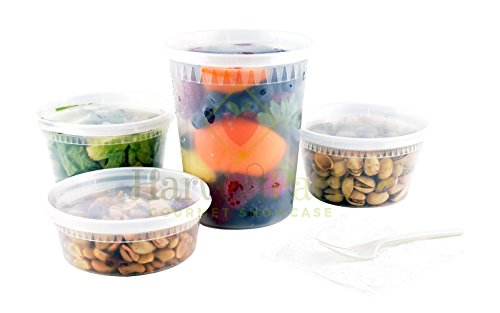 Food Containers with 16 oz Takeout Deli Counter Combo Pack Microwaveable BPA Free Delicatessen Packaging or