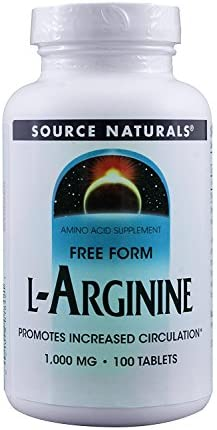 Source Naturals L-Arginine 1000mg, 100 Tablets Pack of 2