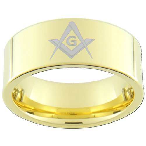 9mm Gold Tungsten Carbide Freemason Masonic Rings (full and half sizes 5-15)