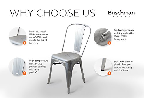 Buschman Store TH-1002C Timber Gun Grey 4 Set of Four Bronze Wooden Seat Tolix-Style Metal Indoor/Outdoor Stackable Chairs with Back, by Buschman Store (Image #6)