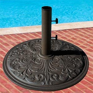 Market Umbrella Base Cast Iron with Bronze Powder Coating 50 Lbs. (Market Cast Iron Umbrella)