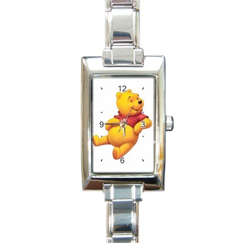 Winnie the Pooh Rectangular Italian Charm Watch with Stainless Steel 16 Link Wrist Strap Pooh Bear
