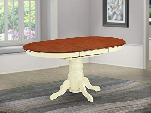 East West Furniture AVT-WHI-TP Oval 42/60-Inch Table with 18-Inch Butterfly Leaf, Medium, Buttermilk and Cherry Finish (Dining Butterfly Set)