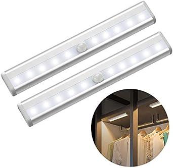 Cordless Under Cabinet Lightening USB Rechargeable Night lighting LED Motion Sensor Closet Lights 10 LED Cabinet Lighting Motion Sensor Cabinet Lights for Closet/Wardrobe/Drawer/Cupboard 2 Pack: Amazon.es: Iluminación