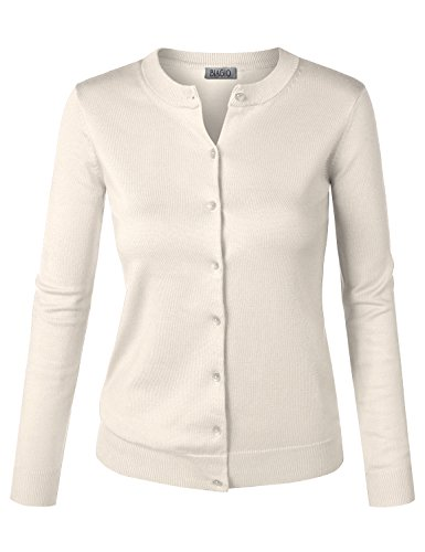Cardigan Sweater Off White (BIADANI Women Button Down Long Sleeve Soft Knit Cardigan Sweater Junior Fit Ivory Large)