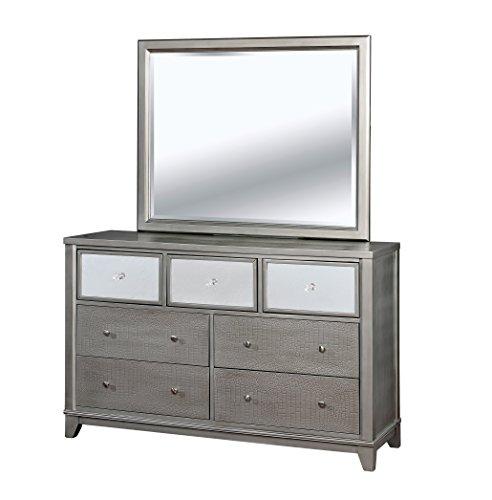 Silver Dresser N Mirror (HOMES: Inside + Out IDF-7289SV-DM Omalanta Dresser Mirror Contemporary, Silver)