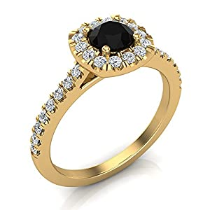 0.75 ct tw Black & White Diamond Cushion Halo Wedding Ring in 14K Yellow Gold (Ring Size 7)