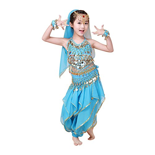 New Belly Dance Costumes Set Indian Dancing Dress Clothes Top Pants Set 5Pcs for Girls Adult