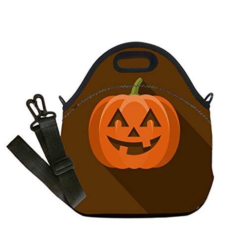 3D Print Neoprene Reusable Cooler Fashion Lunch Bag Jack O Lantern Flat Design Halloween Icon with Side Shadow Lunch Bag- Insulated and Reusable Artful -