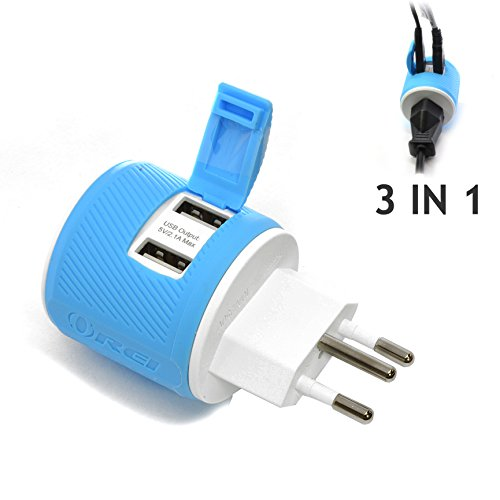 OREI Brazil Travel Plug Adapter - Dual USB - Surge Protection - Type N (U2U-11C) Does Not Convert Voltage