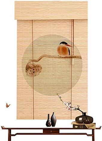 竹製ローラーブラインド、屋外ティールームテラスパーティション装飾用ローラーブラインド、遮光防水レトロローラーブラインド、屋内バルコニープライバシーカーテン、サイズはカスタマイズ可能ZDDAB