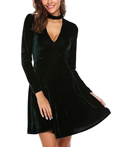 Robe de Vintage Cocktail Au Meaneor Vert Longues Manches Robe Femmes Retro Genou de Velours Soire qPz8PW