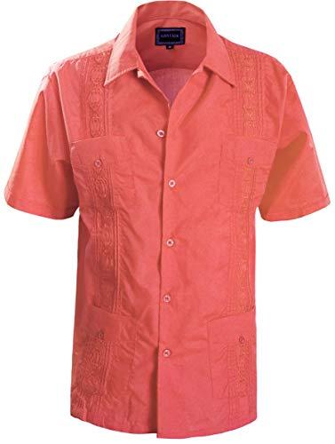 Classic Guayabera - Guytalk Men's Guayabera Embroidered Classic Cuban Wedding Shirts XXL Coral
