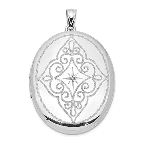 925 Sterling Silver Diamond Center Swirls 34mm Oval Locke Necklace Pendant Charm Locket Fine Jewelry Gifts For Women For Her