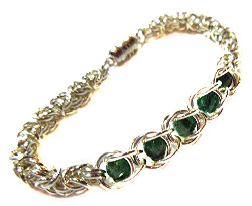 k Green Jade Gemstone Bracelet Exquisite Ancient Byzantine Weave With Free Floating Genuine Natural Dark Green Jade Beads Substantial 18 gauge .925 Sterling Silver (Heavy Jade Ring)